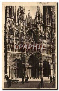 Old Postcard Rouen Cathedral Facade of Notre Dame