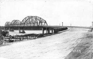 Bismarck North Dakota~Liberty Memorial Bridge Spanning Missouri River~1930s RPPC