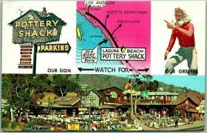 Vintage LAGUNA BEACH California Postcard POTTERY SHACK Highway 101 Roadside 1963