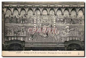 Postcard Old Lyon Basilica of Fourviere N D mosaic of the Vow of Louis XIII