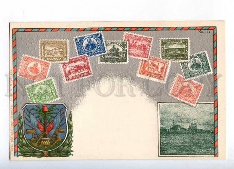 231973 Haiti Coat of arms STAMPS Vintage embossed Zieher PC