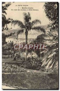 Old Postcard The French Riviera Monte Carlo corner gardens and hotel Riviera