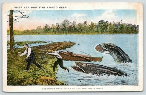 Kilbourn-Dells Wisconsin~Exaggerated Fish Chase Men on Shore~Some Fish~1920s