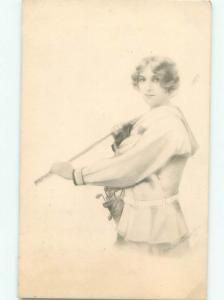 1912 Suffrage Interest GOLFING - WOMAN SWINGS GOLF CLUB JUST LIKE MEN AB7841