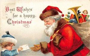 F99/ Santa Claus Christmas Postcard c1910 Ellen Clapsaddle Child 2