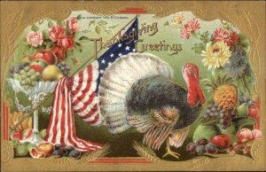 Patriotic Thanksgiving American Flag Gold Border Series 2096A Postcard #5