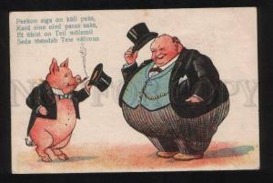 056585 Dressed PIG & FAT Dandy TOP HAT vintage PC