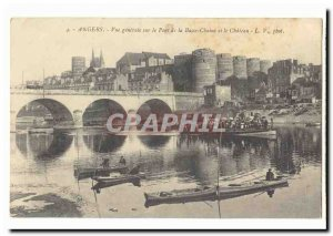 Angers Old Postcard General view of the bridge from Lower Chain and castle (a...
