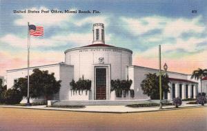 U.S. Post Office, Miami Beach, Florida, Early Postcard, Unused