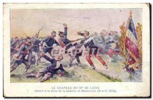 Old Postcard Flag decorated 57th line in the wake of the Battle of Rezonville...