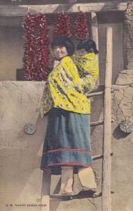 Mother and Papoose - Native Americans in Southwest US Linen