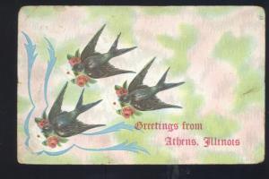 GREETINGS FROM ATHENS ILLINOIS BIRDS VINTAGE POSTCARD EASTON ILL. NOBLE