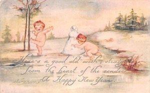Happy New Year Wishes Children Building Snowman 1921