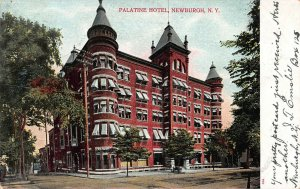 Palatine Hotel, Newburgh, N.Y., Early Postcard, Used in 1906 to Port Jervis