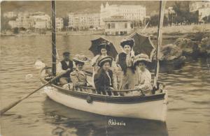 Abbazia Opatija Croatia umbrellas fancy women boat snapshot photo postcard 1908