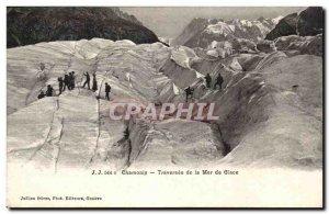 Chamonix Old Postcard Traversee of sea ice