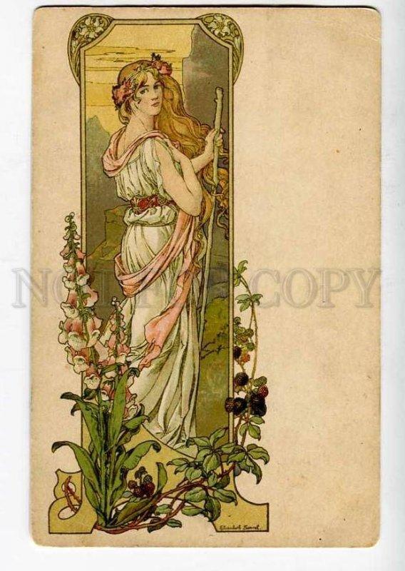 262052 ART NOUVEAU Nymph by Elisabeth SONREL Vintage PC