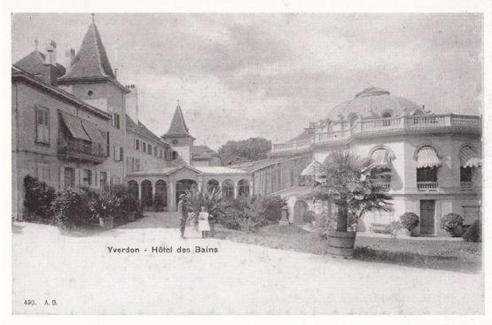 Yverdon Hotel Des Bains 1903 Swiss Switzerland Award Winning Photo Postcard