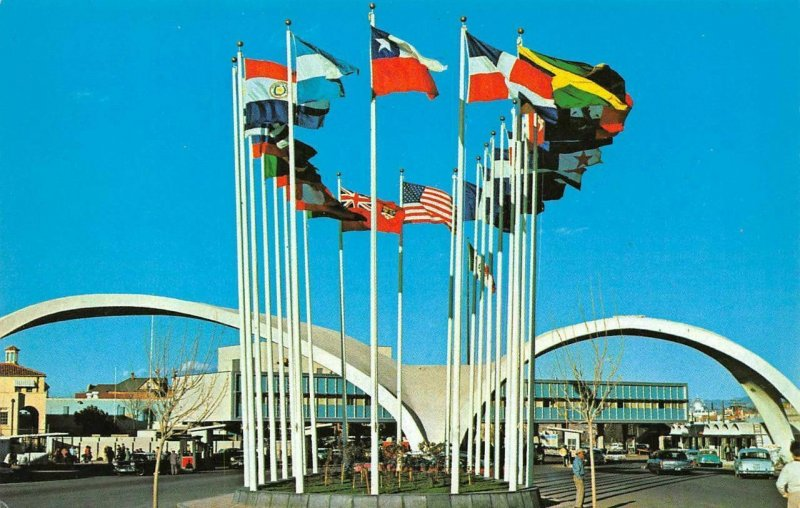 Avenue of Flags Immigration Station Nogales, Sonora, Mexico 60s Vintage Postcard