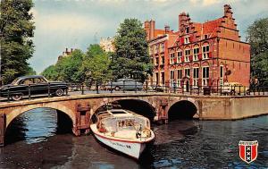 Netherlands Amsterdam O.Z. Voorburgwal with House Bridge Boat Vintage Cars