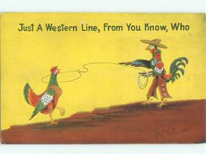Linen Comic western HUMANIZED ROOSTER DRESSED AS A COWBOY AC0110