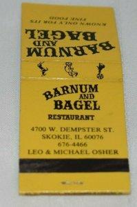 Barnum and Bagel Restaurant Skokie Illinois 20 Strike Matchbook Cover