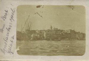 turkey, CONSTANTINOPLE, Panorama Galata, Golden Horn (1910s) RPPC Postcard