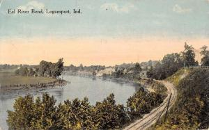 Logansport Indiana Eel River Bend Birdseye View Antique Postcard K77012