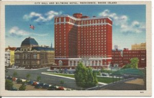 Providence, Rhode Island City Hall and Biltmore Hotel Souvenir Vintage Postcard