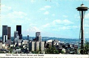 Washington Seattle Space Needle and Mount Rainier