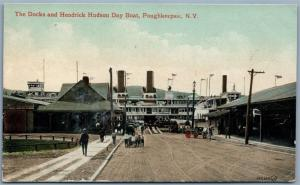 POUGHKEEPSIE NY DOCKS & HENDRICK HUDSON DAY BOAT ANTIQUE POSTCARD
