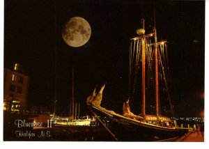 Large 5 X 7 inch, Moon Over Bluenose II Historic Properties Halifax, Nova Scotia