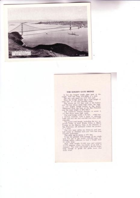 Golden Gate Bridge California, Small  Card with Information on the Back