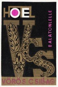Hungary Balatonlelle Hotel Voros Csillag Vintage Luggage Label sk3618