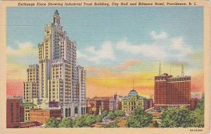 Rhode Island Providence Exchange Place Showing Industrial Trust Building City...