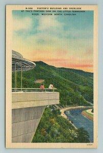 Visitor's Building Overlook TVA Fontana Dam TN River North Carolina NC Postcard