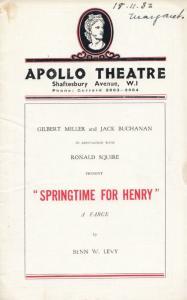 Springtime For Henry Ronald Squire Comedy Apollo Theatre Programme