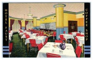 ROCKFORD, Illinois IL ~ Roadside HOTEL FAUST COFFEE SHOP Art Deco 1940s Postcard