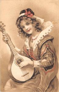 us133 girl playing mandolin luxembourg vielsalm 1909