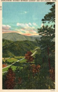 Overlooking Highway b/w Elkmont & Gatlinburg, TN, Linen Vintage Postcard g9051