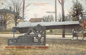 Ashtabula Ohio Old Cannon Flatiron Park Antique Postcard K93687