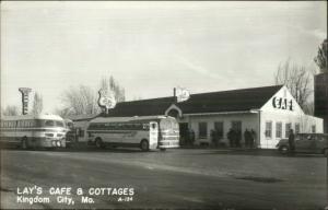 Roadside Bus Station Lay's Caf' KINGDOM CITY MO Greyhound Real Photo Postcard