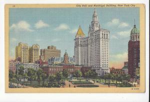 NY 1941 New York City Hall and Municipal Building Vtg Linen Postcard