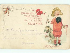 Pre-Linen Valentine signed OUTCAULT - DOG & BUSTER BROWN WITH PAINT CAN AB3225