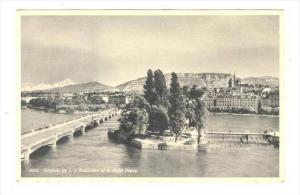 Geneve. Ile J.-J. Rosseau et le Mont-Blanc, Swizterland, 20-40s
