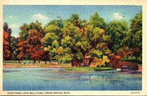 Michigan Grand Rapids John Ball Park Duck Pond 1940 Curteich