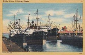 Texas Galveston Harbor Scene With Cargo Ships sk4930
