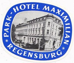 Germany Regensburg Park Hotel Maximilian Vintage Luggage Label sk2619