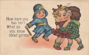 Humour Policeman and Young Couple How Dare You Hug Her 1910
