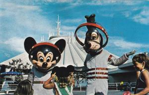 Mickey & Goofy With Space Suits, Space Mountain, DISNEYWORLD, ORLANDO, FL 60-70s